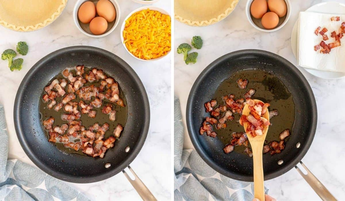 cooking bacon in a skillet