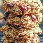 Oatmeal Cranberry Breakfast Cookies on a rack, close up