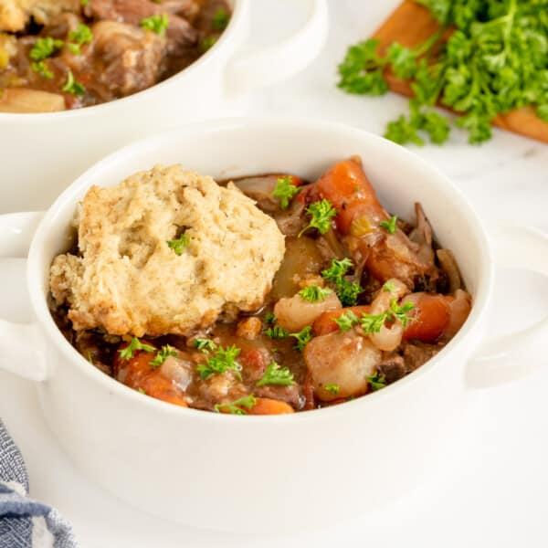 white bowl full of stew