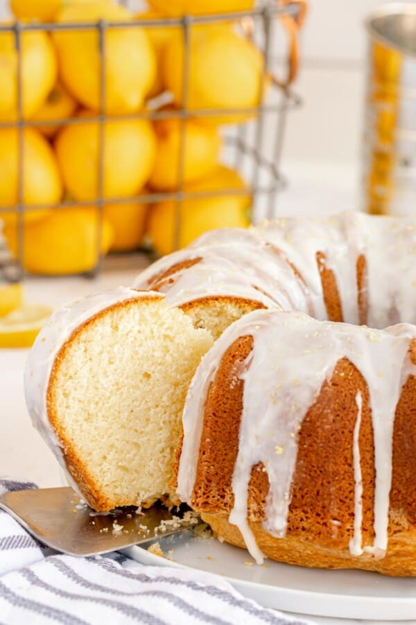 lemon bundt cake with a slice taken out