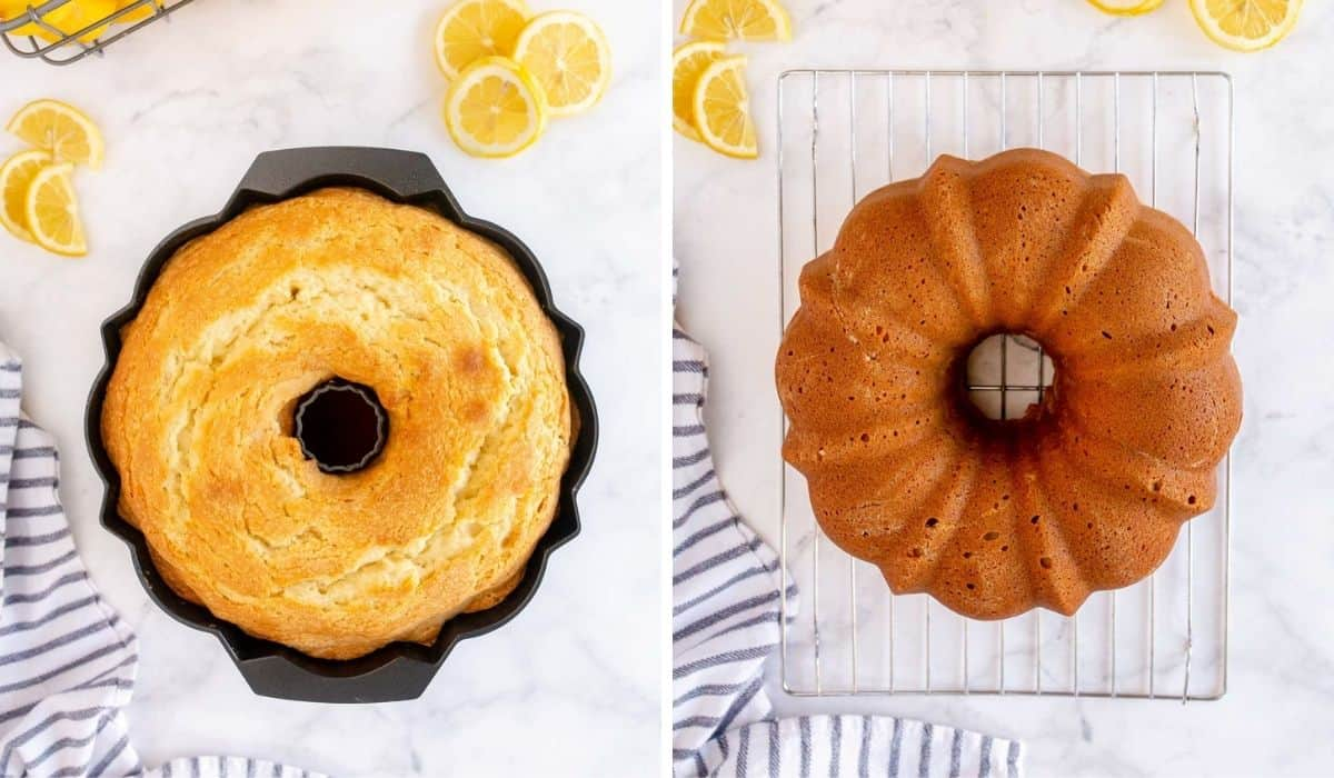 step by step photos showing a baked bundt cake
