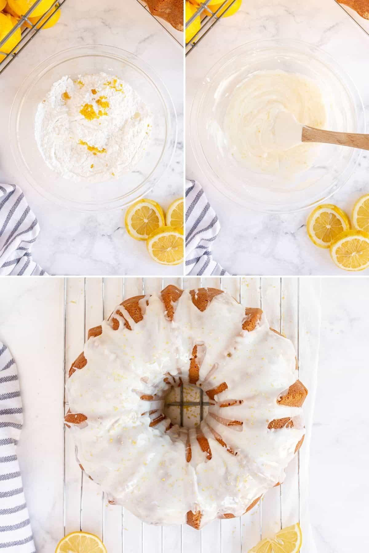 step by step photos showing how to make a lemon glaze for a cake