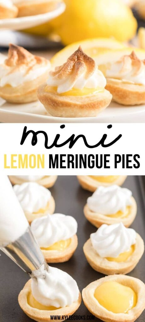 Mini Lemon Meringue Pies PIN with text overlay