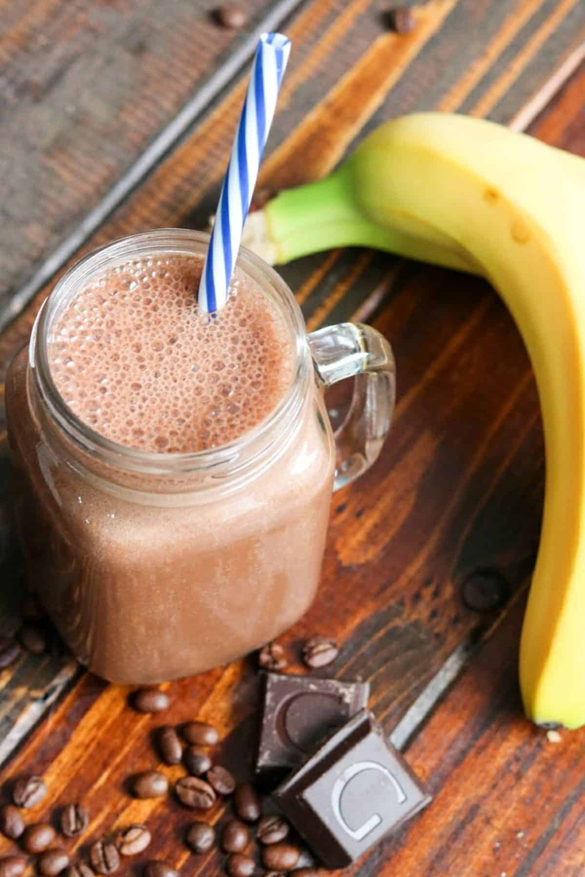 coffee smoothie with a banana and chocolate