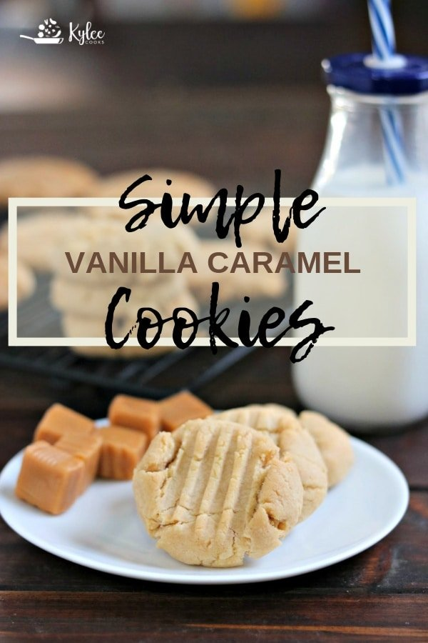 vanilla caramel cookies with text overlay