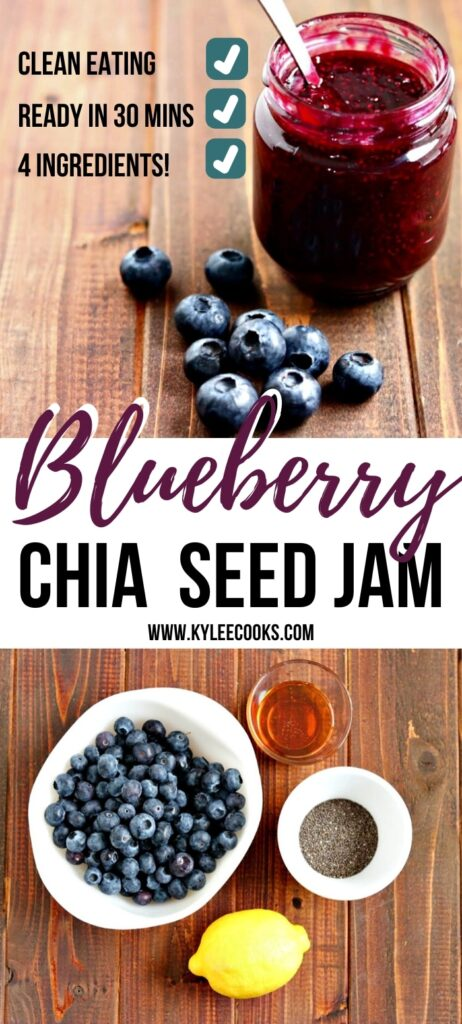 blueberry chia jam pin with text overlay