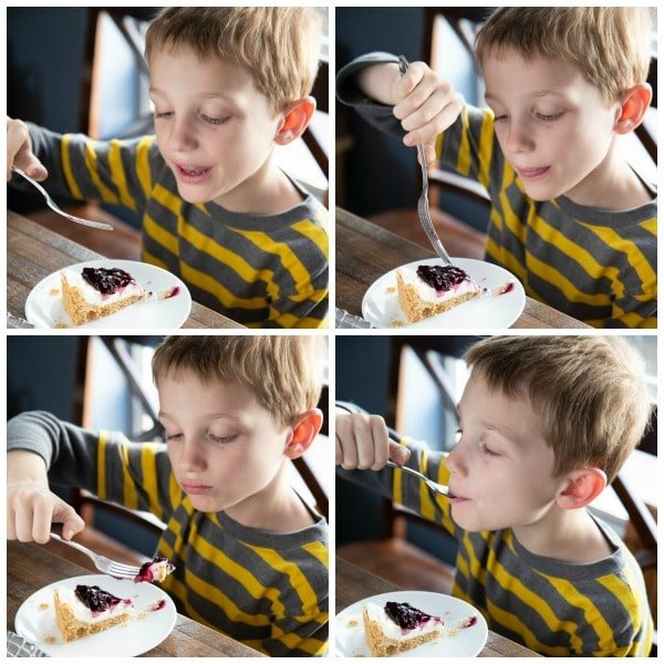 4 pictures in a collage of a boy eating cheesecake