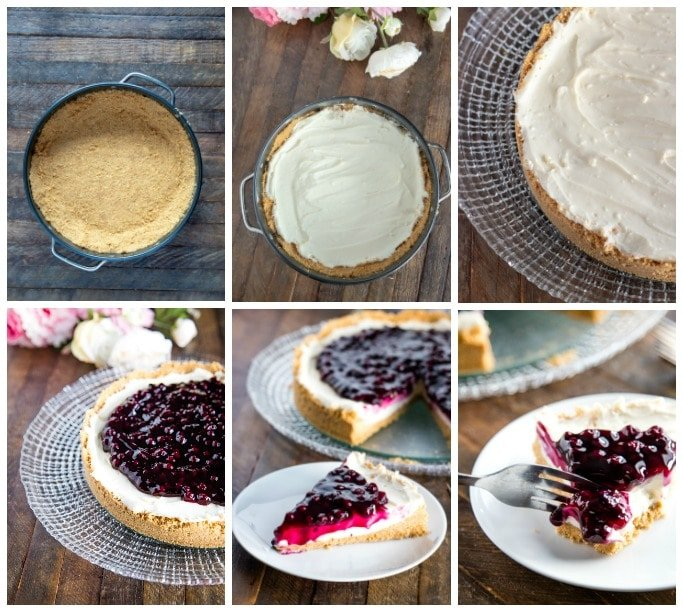step by step instructions in pictures showing how to make no bake blueberry cheescake