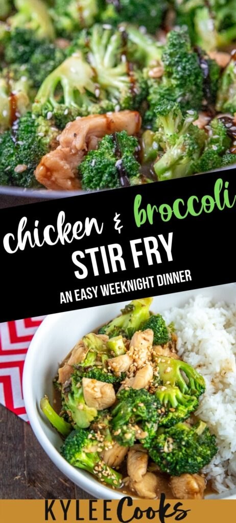 Chicken broccoli stir fry with text overlay