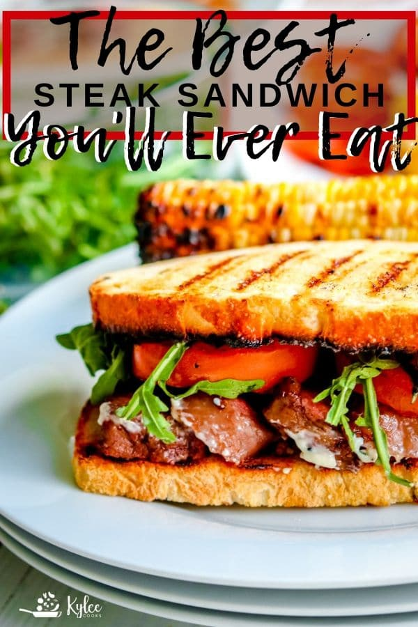steak sandwich on a plate with grilled corn and salad with recipe name as text overlaid