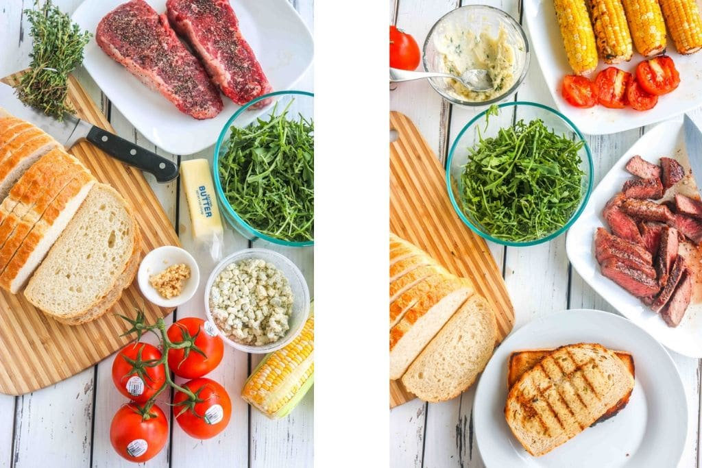 ingredients to make an epic steak sandwich laid out