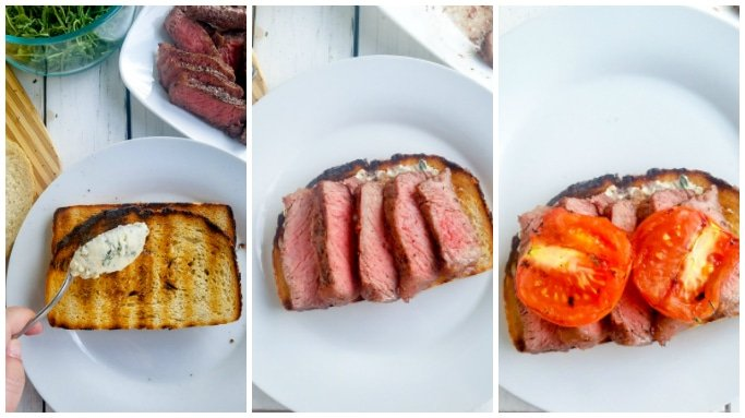 step by step instructions on making a steak sandwich - 2