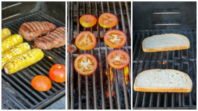 collage of a grill cooking components for a steak sandwich