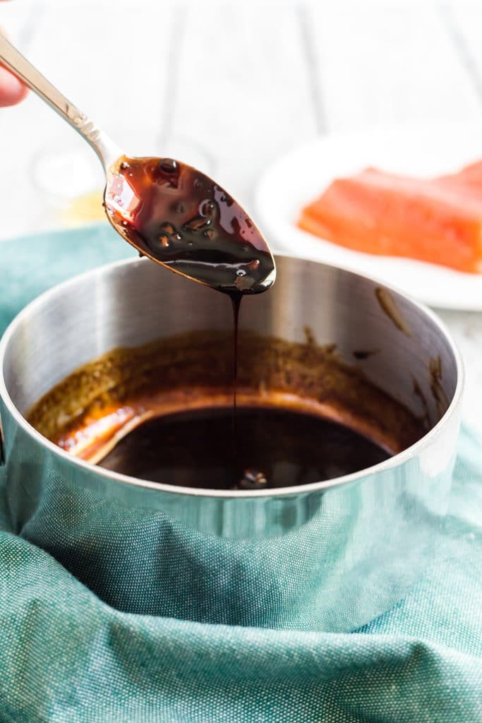 balsamic glaze on a spoon
