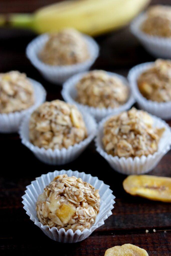 banana oatmeal energy balls in mini muffin pan liners