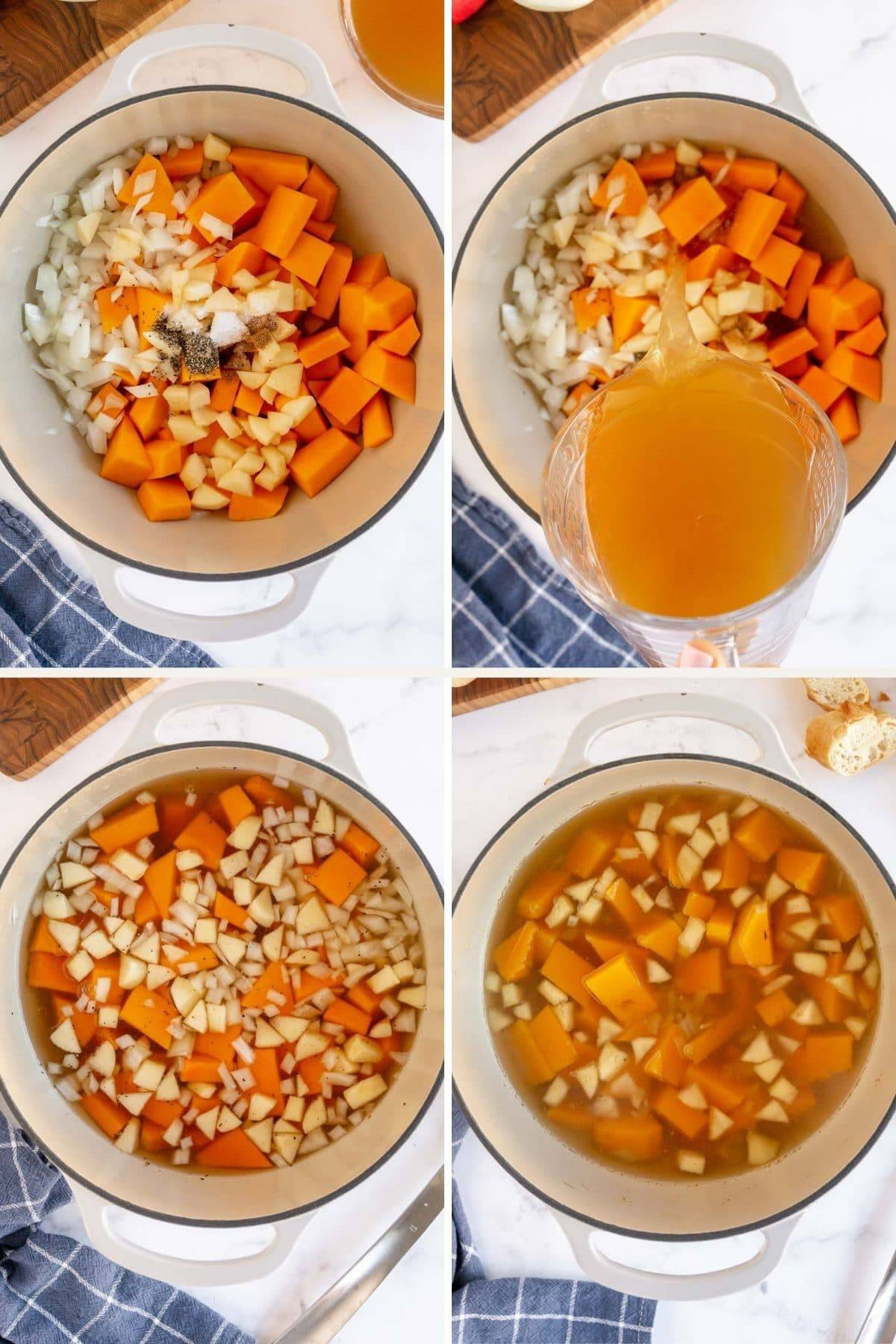 step by step making butternut squash apple soup
