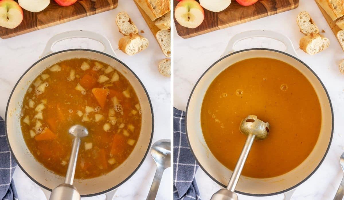 step by step blending butternut squash apple soup