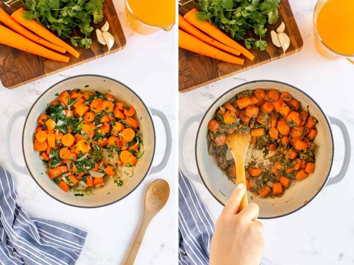 collage of steps to make carrot soup