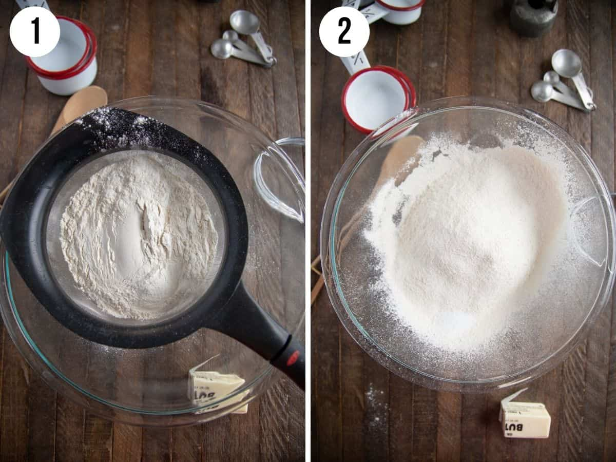collage showing steps to make homemade bisquick