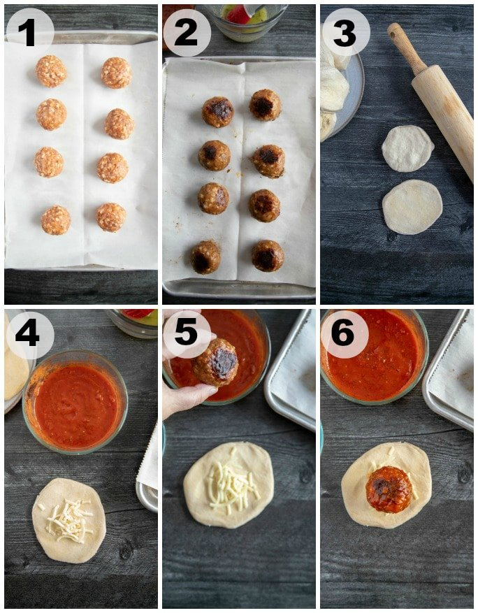 collage of process shots to make meatball bombs