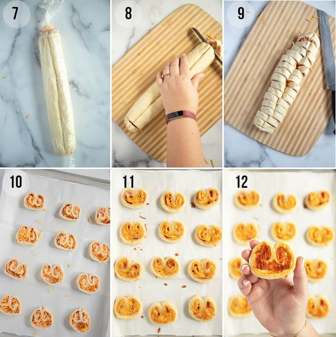 making savory ham and cheese palmiers (rolling, cutting and baking)