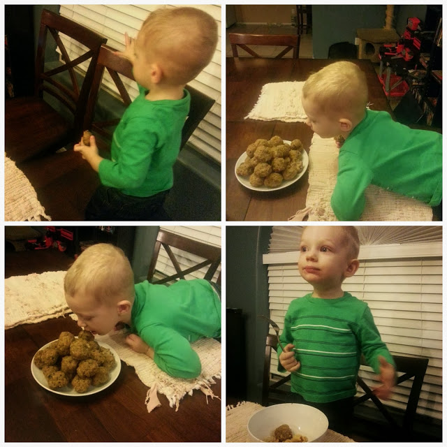 collage of a little boy eating turkey meatballs