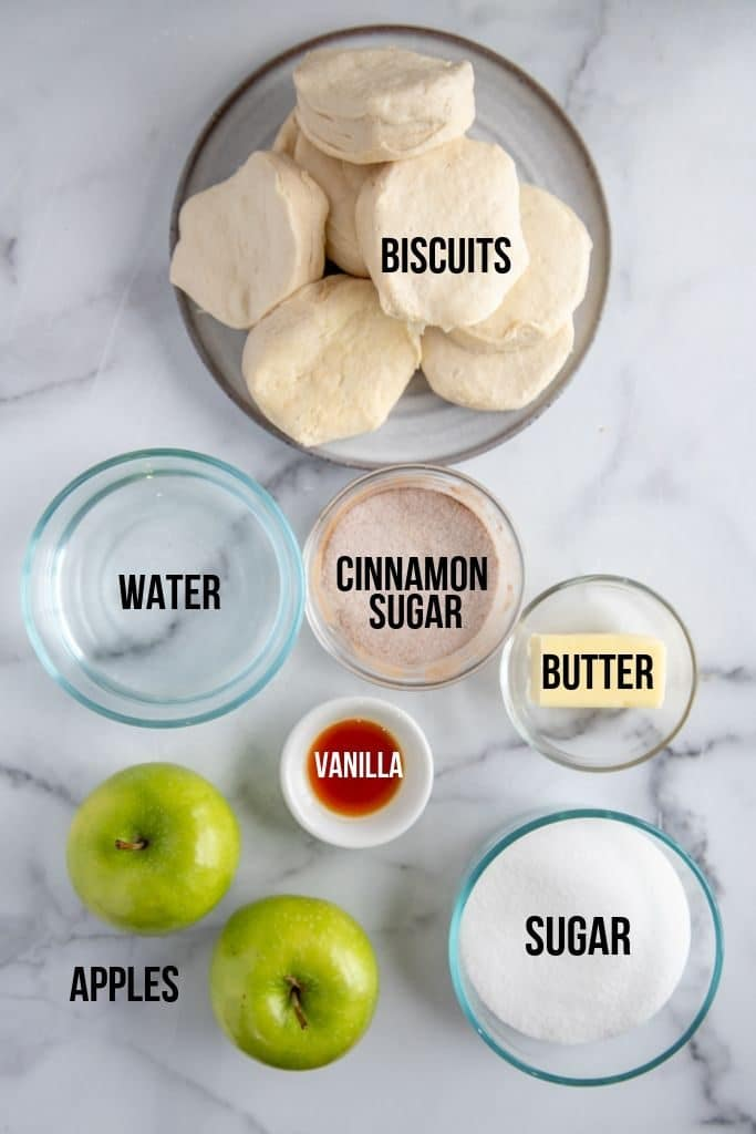 ingredients for apple dumplings on a marble counter