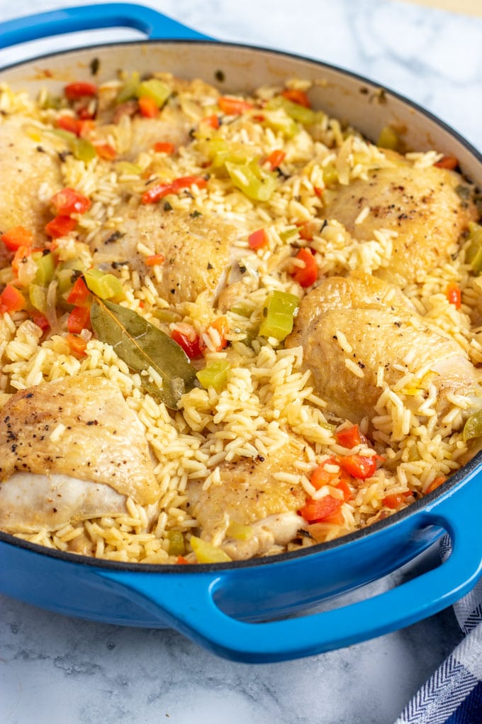 arroz con pollo in a blue skillet