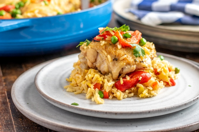 arroz con pollo on a white plate