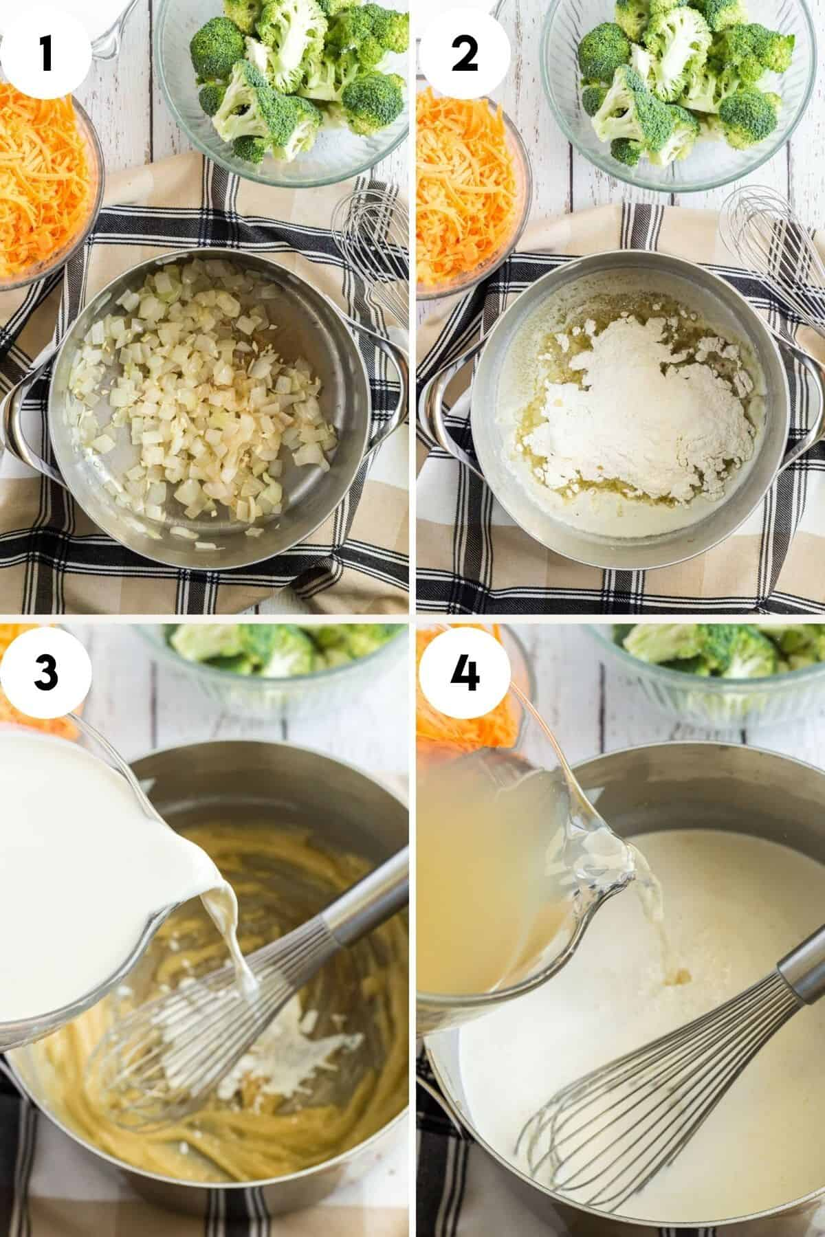 collage of step by step process to make broccoli cheddar soup