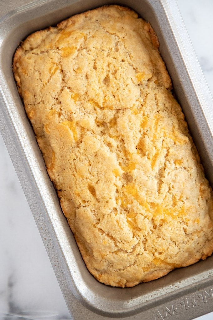 fully baked cheddar beer bread in the pan