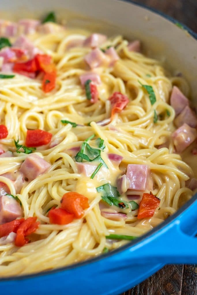 ham tetrazzini in a blue dutch oven