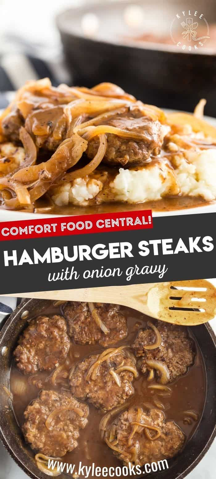 collage of hamburger steaks with onion gravy on mashed potatoes, and a skillet - with recipe title in text overlaid