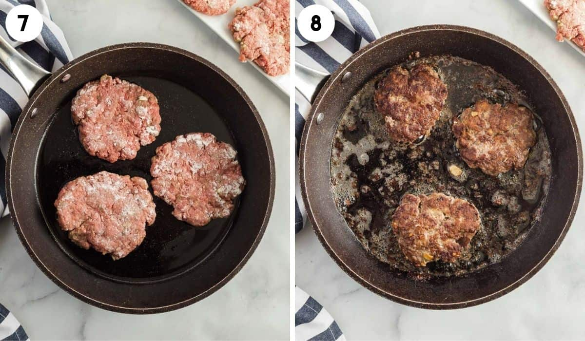 collage of cooking hamburger patties in a skillet