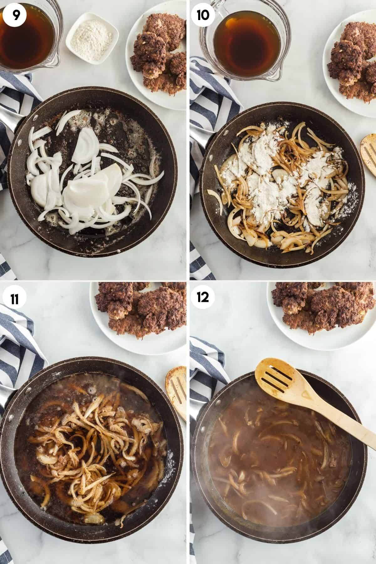 collage of making onion gravy for hamburger steaks