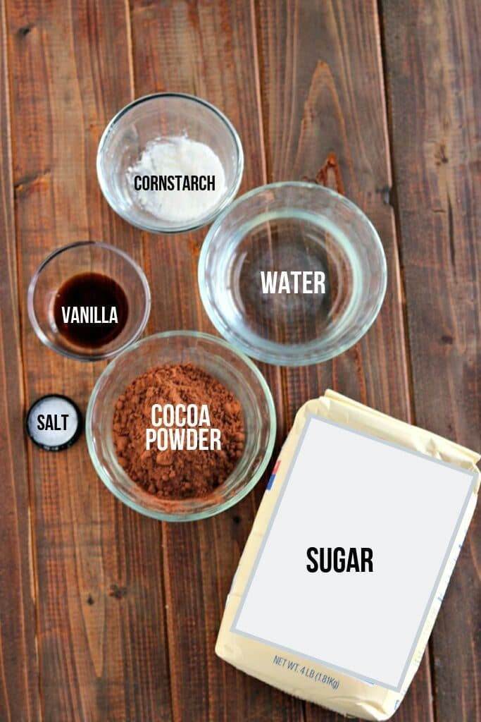 chocolate syrup ingredients laid out and labeled