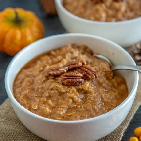 pumpkin oatmeal in a bowl with pecans