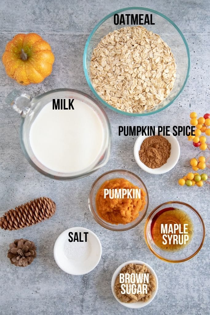 pumpkin oatmeal ingredients on a concrete counter top with labels
