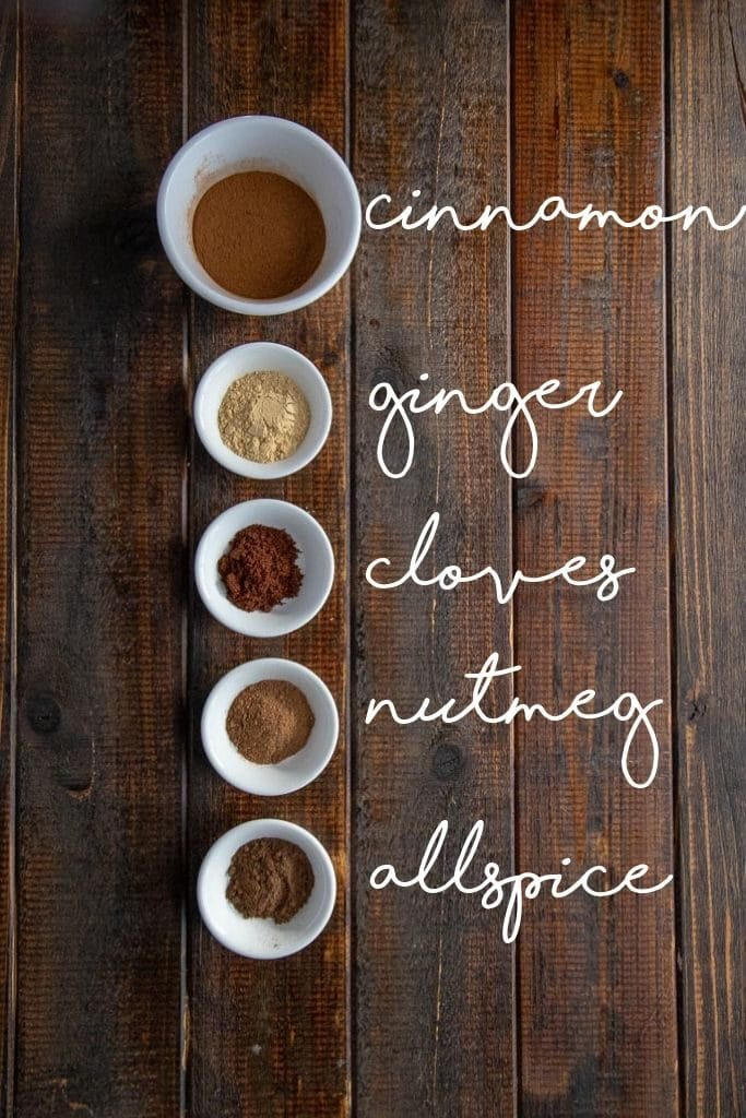 pumpkin pie spice ingredients laid out and labeled