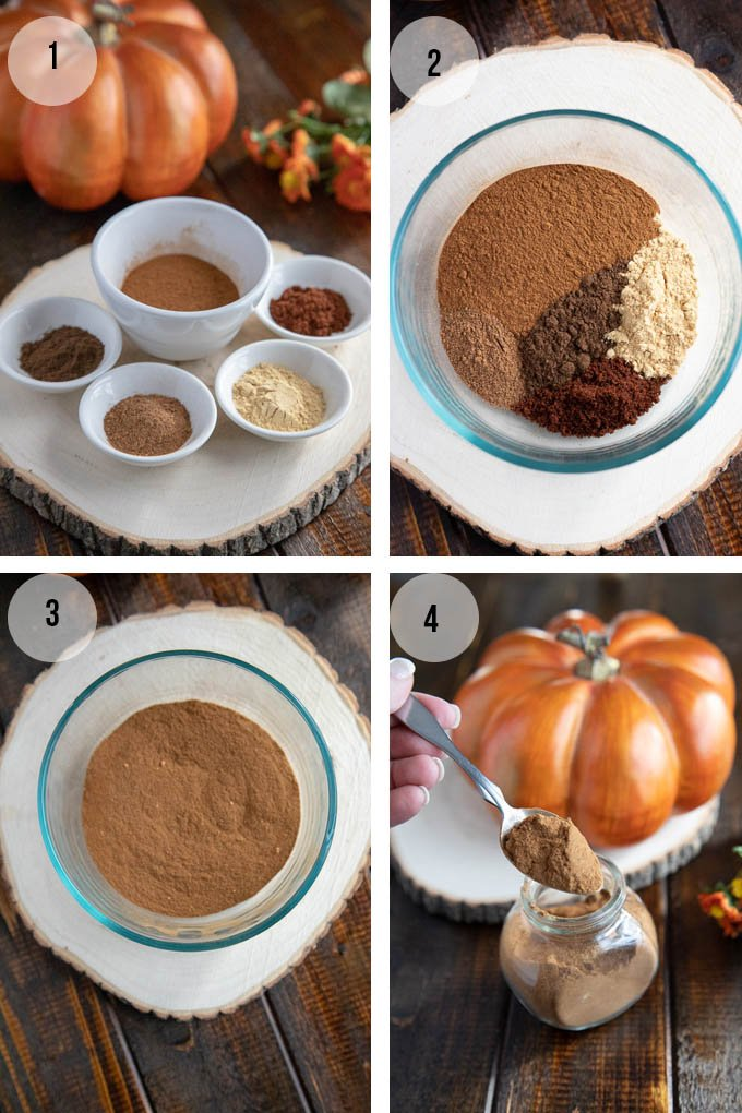 collage showing how to make homemade pumpkin pie spice