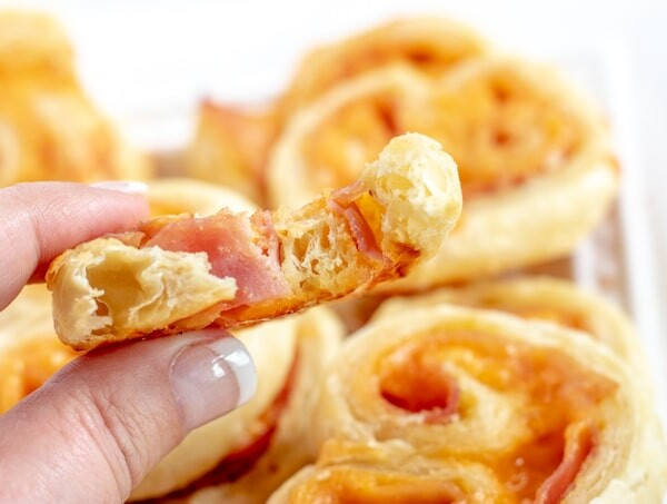 close up of ham and cheese palmiers