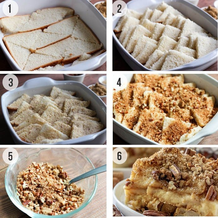 collage of process shots showing how to make baked french toast