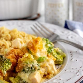 Chicken Divan Casserole on a white plate with a fork and blue napkin