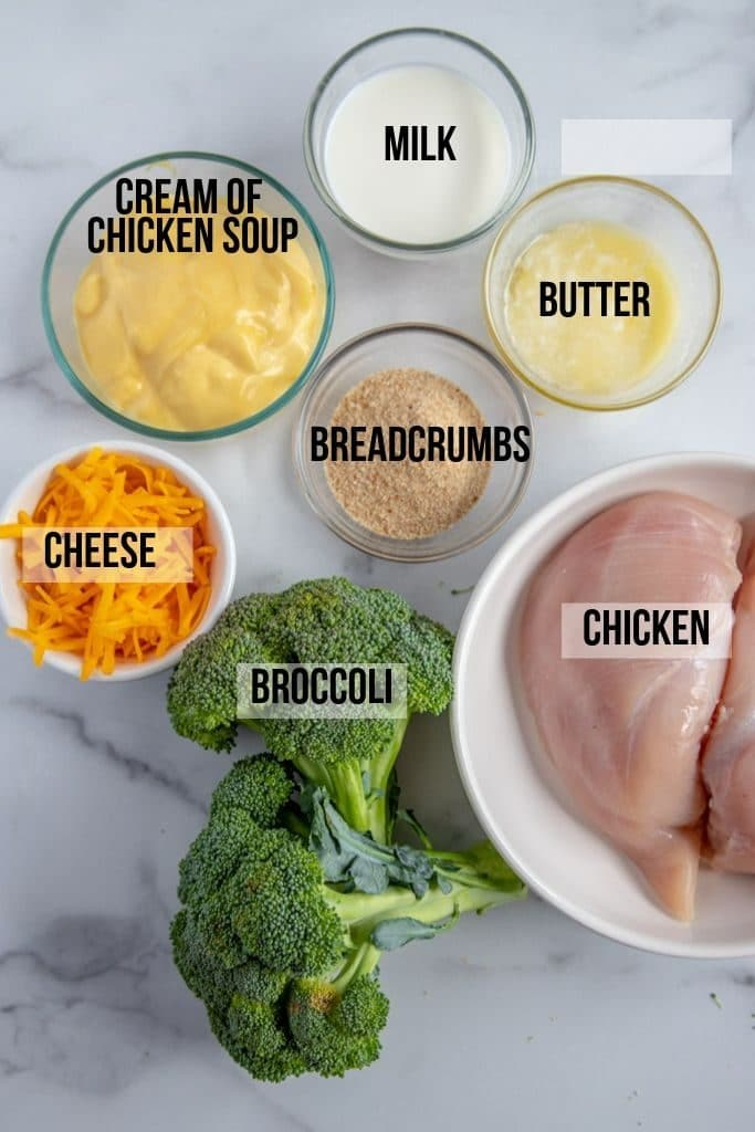 Chicken divan casserole ingredients laid out and labeled