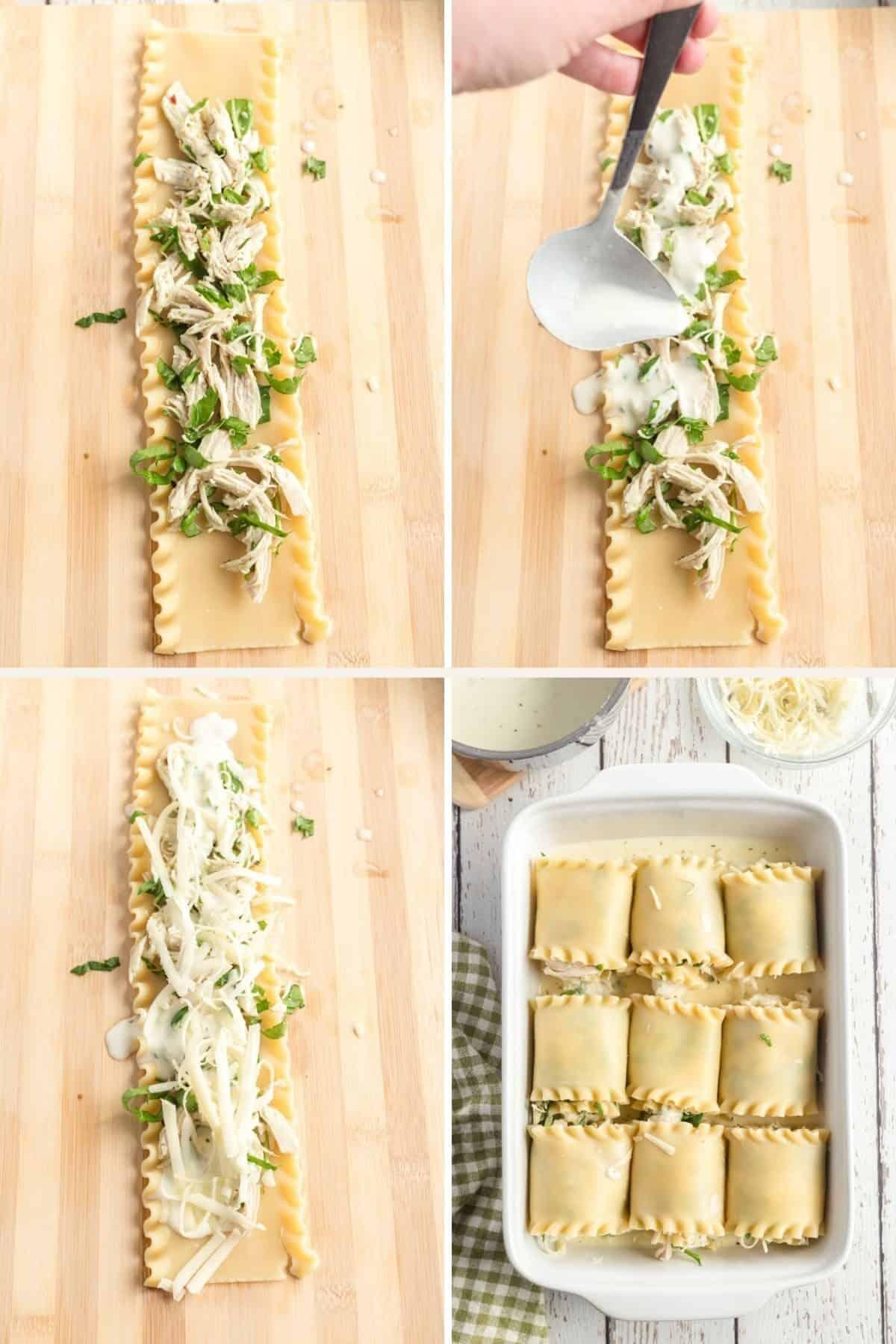 step by step photos assembling lasagna rolls