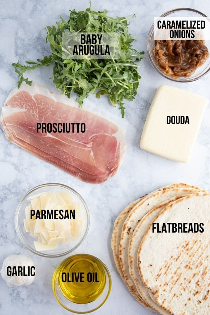 flatbread pizza ingredients, arugula