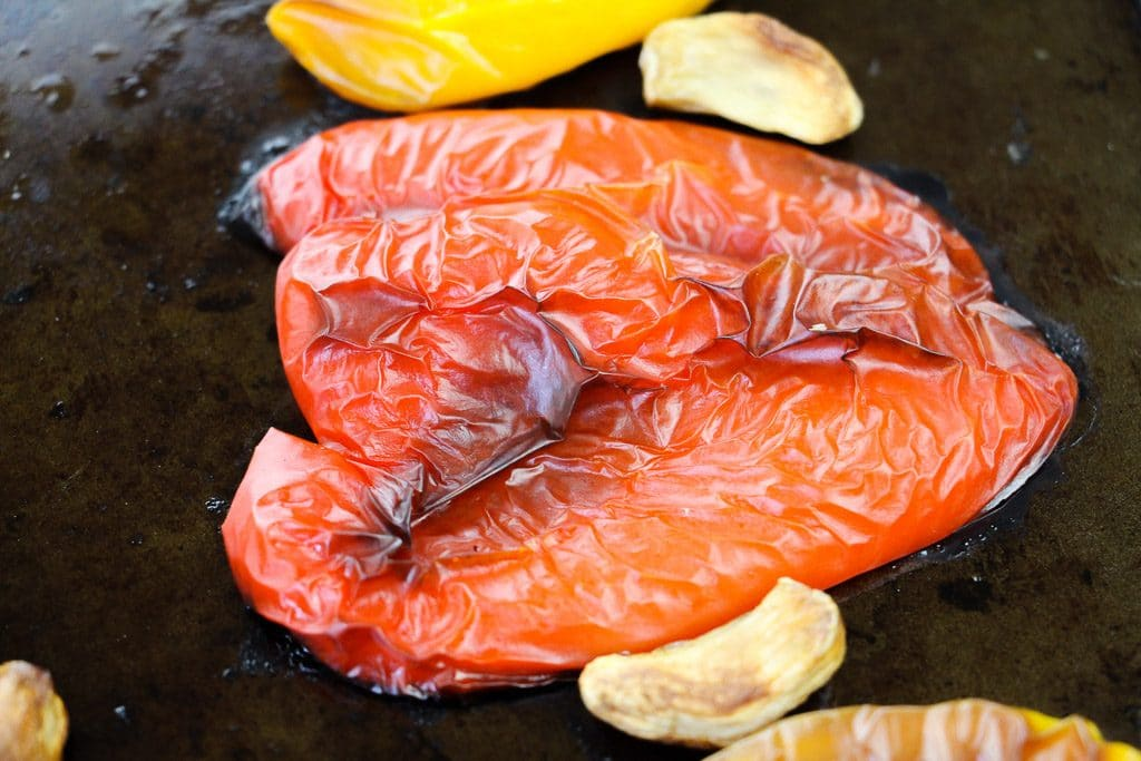 a roasted red pepper with garlic