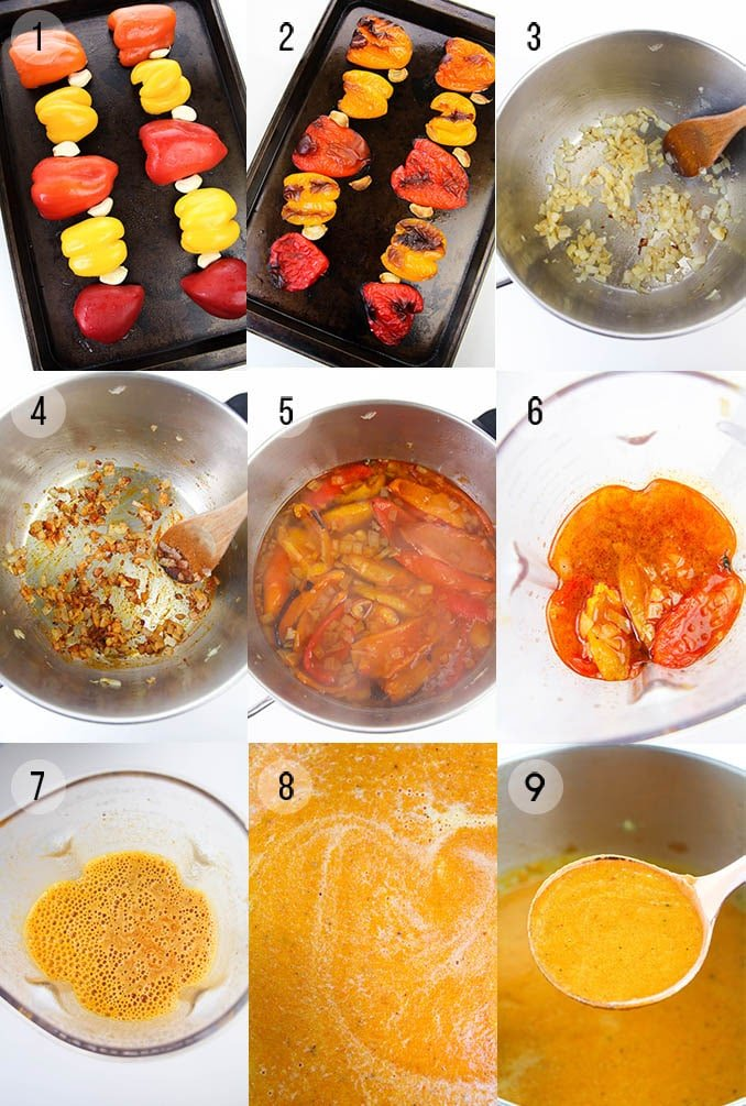 Roasted red pepper soup step by step instructions