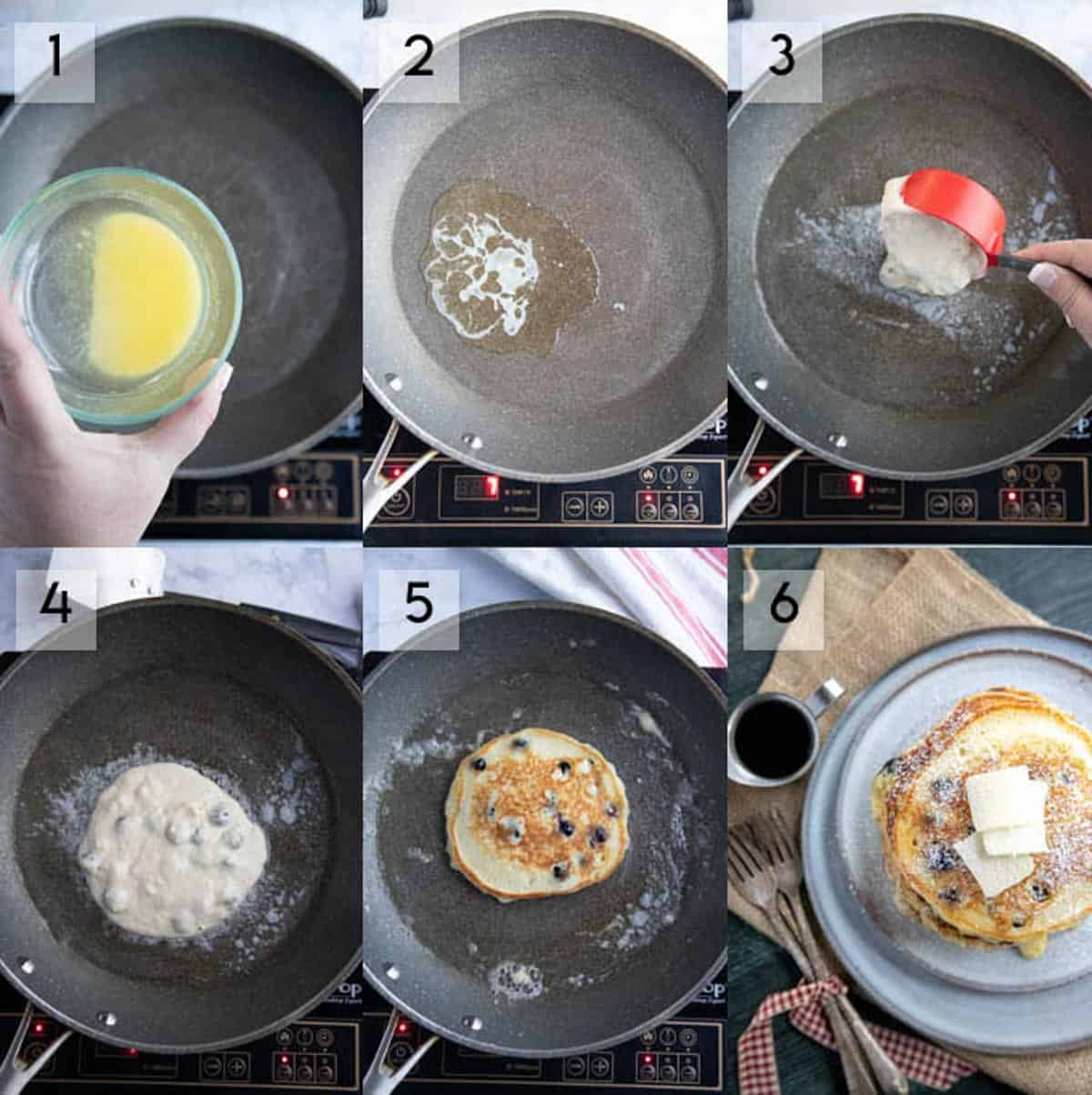 collage showing how to make blueberry pancakes