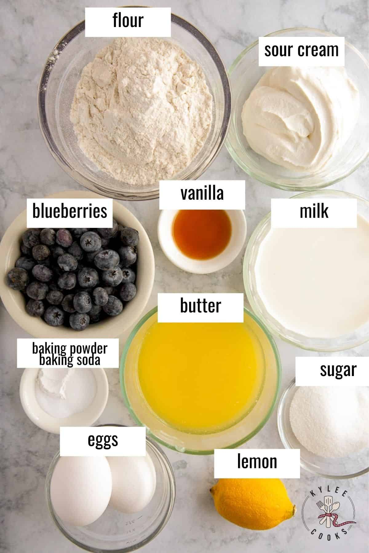 ingredients to make blueberry pancakes laid out and labeled